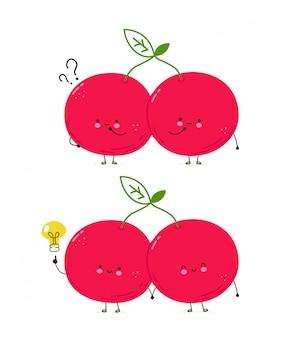 Милая счастливая пара вишни. изолированные на белом фоне мультипликационный персонаж рисованной иллюстрации стиль