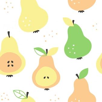 フラッシュ梨モダンな美しさのシームレスなパターン、手描きの重複ベクトル漫画イラストデザイン。手描き梨フルーツコレクションとのシームレスなパターン。装飾的なイラスト、印刷