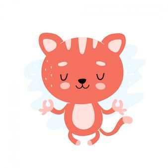 かわいい健康的な幸せな猫は、ロータスヨガのポーズで瞑想します。ベクトルフラット漫画イラストキャラクターデザイン。白で隔離。キティリラックスキャラクターコンセプト