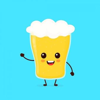 Счастливый милый улыбающийся бокал пива