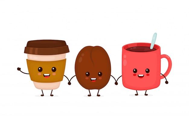 Счастливые милые смешные кофейные зерна и кофейные чашки