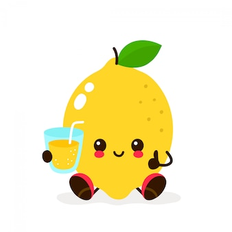 Милый лимон с бокалом лимонада
