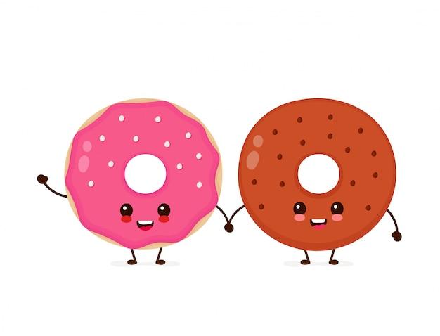 Счастливые милые улыбающиеся пончики