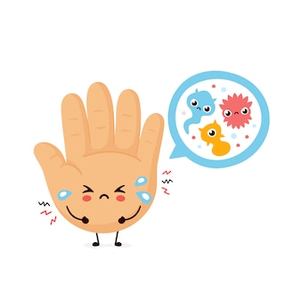 かわいい悲しい人間の手と顕微鏡細菌