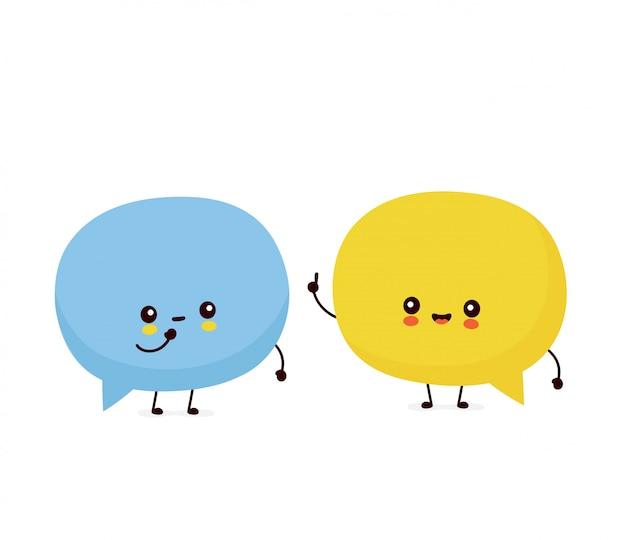 話しているかわいい幸せなスピーチの泡