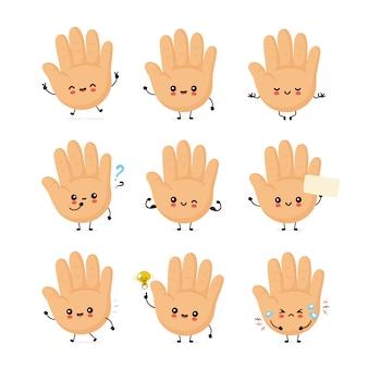 かわいい笑顔幸せな人間の手セット