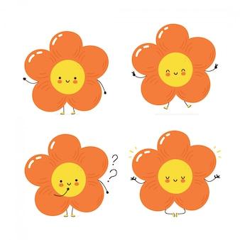 Симпатичный счастливый цветочный набор символов