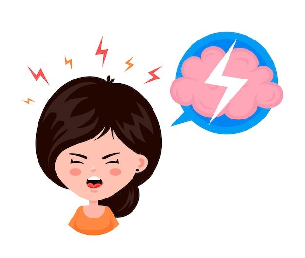 Молодая женщина, девушка с головной болью, усталостью сострадания, с заболеванием головы