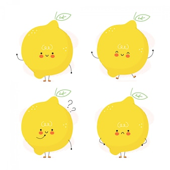 かわいい面白いレモンフルーツ文字セット