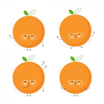 かわいい面白いオレンジフルーツ文字セット