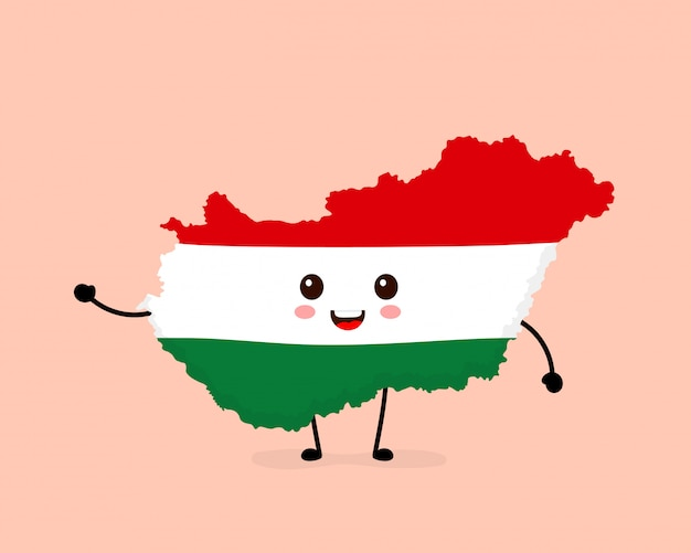 かわいい面白い笑顔幸せなハンガリーマップとフラグ文字。