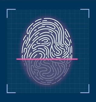 指紋のレーザースキャン。未来的なインターフェース設計。