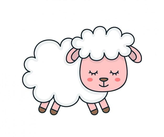 Смазливая улыбка смешная спящая сладкая овечка. плоская линия мультфильм характер иллюстрации дизайн иконок.