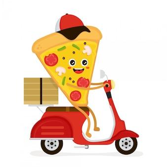 Милый, улыбающийся, забавный, милый кусок пиццы едет