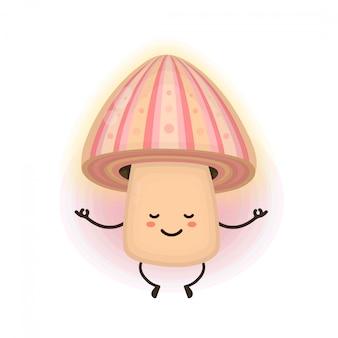 Милый улыбающийся счастливый волшебный медитирующий гриб псилоцибин