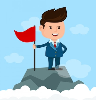 Счастливый улыбающийся бизнесмен с флагом на вершине горы. концепция успеха и достижения.