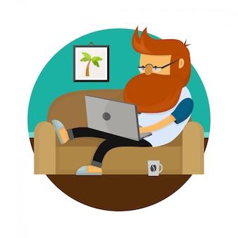ラップトップコンピューターが付いているソファーに座っている若いフリーランサーヒップスター男作業文字。