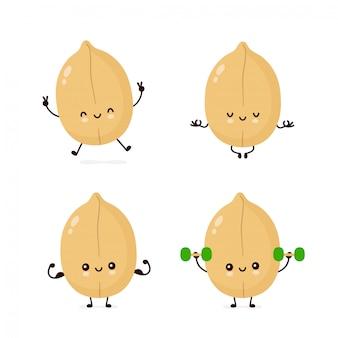 Симпатичные счастливые символы арахиса установлены