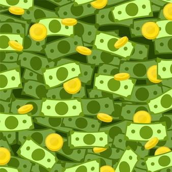 お金ドル現金コイン金雨ベクトルイラスト背景。
