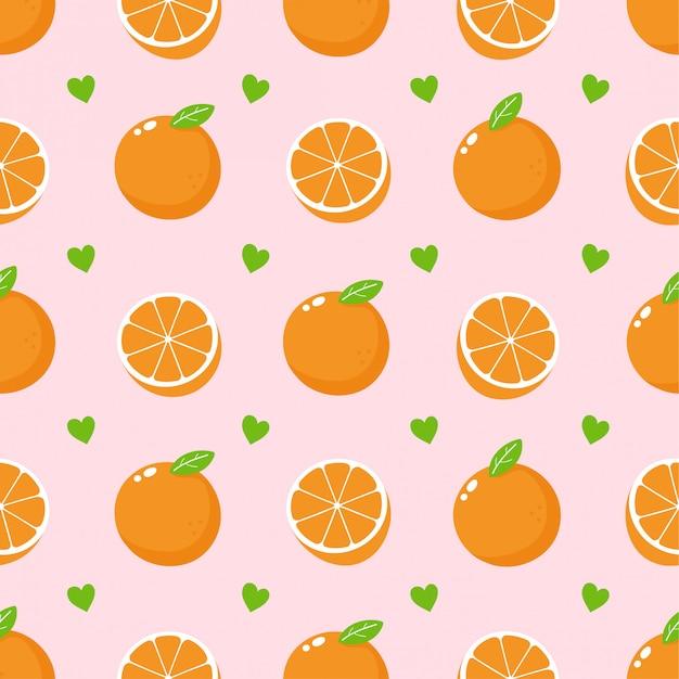 かわいい美しさのオレンジ色の果物と心のシームレスなパターン。
