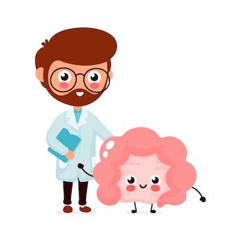 Милый смешной улыбающийся врач гастроэнтеролог и здоровый счастливый кишечник