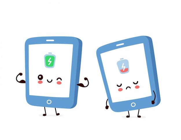 Симпатичный мобильный телефон с полным и разряженным аккумулятором