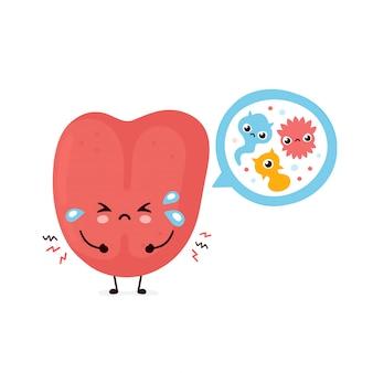 Милый человеческий язык с бактериями