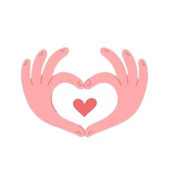 手が心のサインを作る