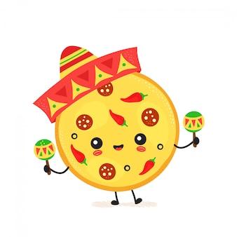 かわいい幸せなメキシコのピザ