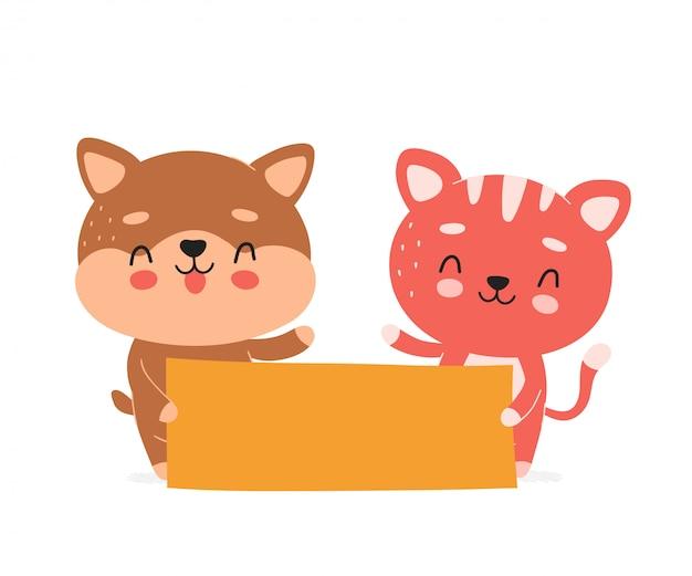 Симпатичные счастливые улыбающиеся кошка и собака держат пустой баннер