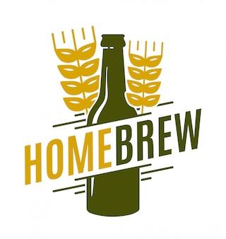 Иллюстрация домашнего пива с бутылкой и пшеницей