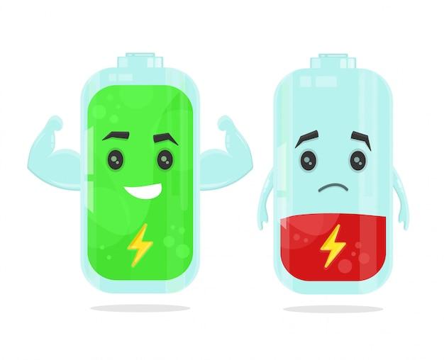 Иллюстрация низкого уровня заряда и полной зарядки аккумулятора