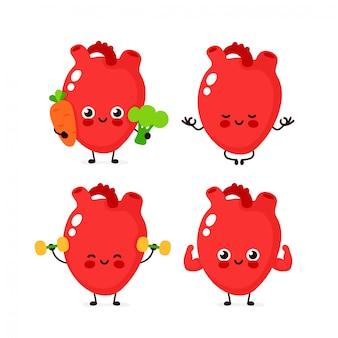 強いかわいい健康的な幸せな人間の心臓器官の文字セット。