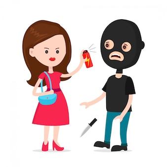 Женщина защищает себя от грабителя