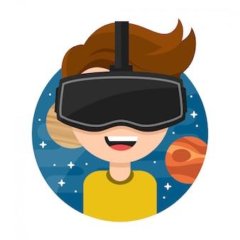 Молодой человек в очках виртуальной реальности. .. плоский значок мультипликационный персонаж иллюстрации. новые игровые кибер-технологии. очки вр. космос. изолированные на белом