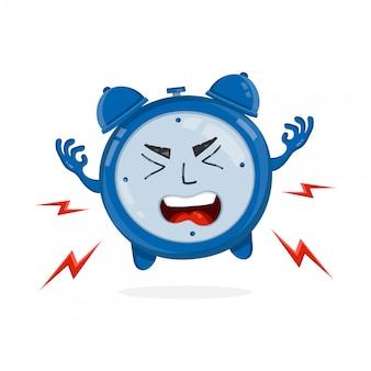 邪悪な怒っている目覚まし時計。フラットイラストアイコン。白で隔離。朝