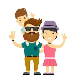 Молодой битник счастливая семья. плоский рисунок персонажа. изолированные на белом. мать, отец, маленький сын