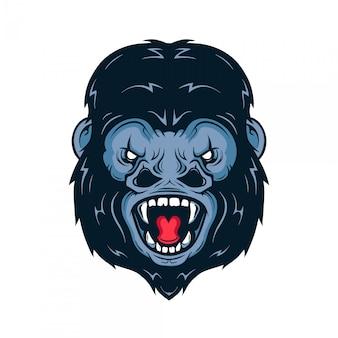 Сердитая иллюстрация головы гориллы. изолированные на белом