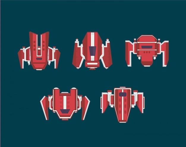 宇宙船セット。アーケードゲームの宇宙船