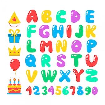 お誕生日おめでとう漫画アルファベットセット。気球フォント。誕生日のアイコンを設定します。お祝いのための平らな要素、図および手紙。白で隔離