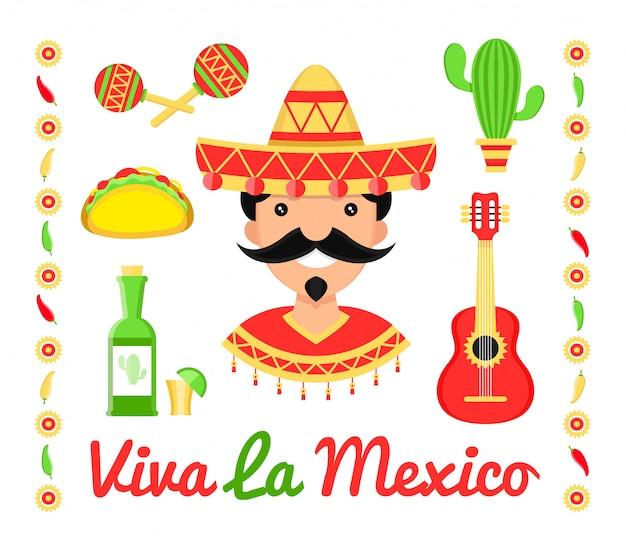 Мексика плоские иконки иллюстрации