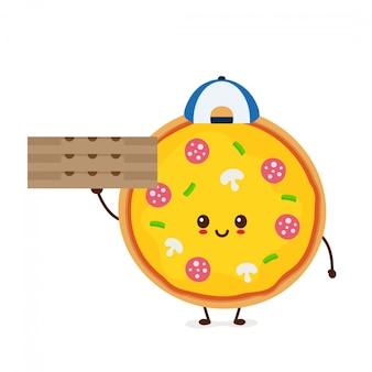 Милый усмехаясь смешной милый мальчик поставки пиццы с коробкой. современный плоский стиль мультипликационный персонаж иллюстрации. изолированные на белом. доставка пиццы