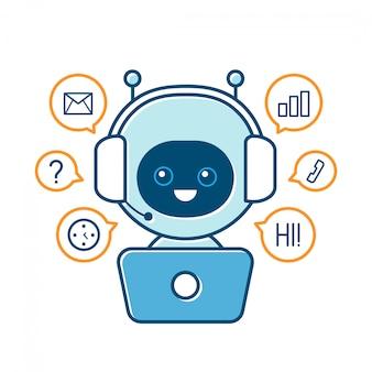 Милый улыбающийся робот, чат бот и знаки связи. современная квартира мультипликационный персонаж иллюстрации. изолированные на белом. говорить пузырь. голос службы поддержки связи чат бот