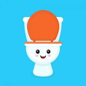 Милый забавный улыбающийся счастливый унитаз. плоский мультипликационный персонаж иллюстрации значок изолированные на синем. унитаз