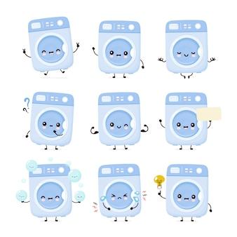 Симпатичные счастливые стиральная машина набор коллекции. плоский значок иллюстрации персонажа из мультфильма. изолированный на белизне. набор символов стиральной машины