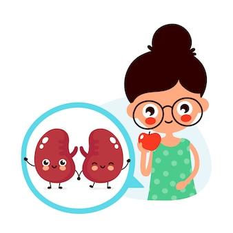 若いかわいい女性はリンゴの果実を食べる。サークルで幸せなかわいい腎臓。フラット漫画キャライラスト。白で隔離。健康な腎臓器官のための食物、栄養