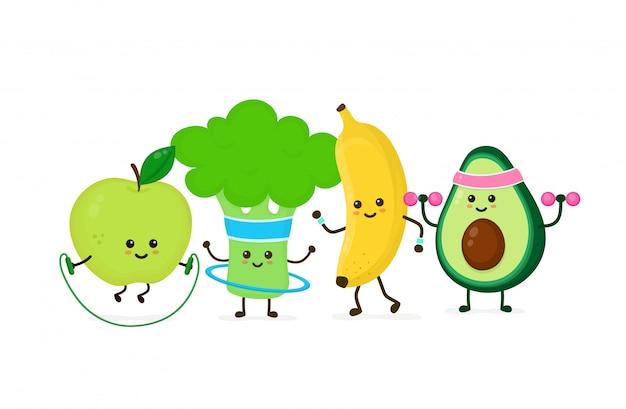 Мило улыбается счастливый сильный авокадо сделать тренажерный зал с гантелями, яблочный прыжок с веревкой, банановый ход, брокколи с обручем. плоский мультипликационный персонаж иллюстрации значок. спортзал, фитнес питание
