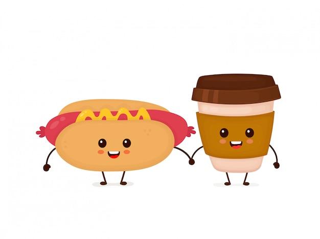 Милый смешной усмехаясь счастливый хот-дог и бумажный стаканчик кофе. плоский мультипликационный персонаж иллюстрации значок изолированные на белом. фаст-фуд, меню кафе, хот-дог и кофе бумажный стаканчик