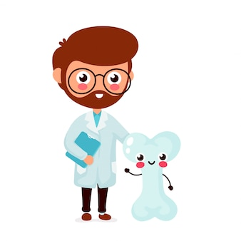 Милый смешной улыбающийся доктор и здоровые счастливые кости. здравоохранение, медицинская помощь. плоский мультипликационный персонаж значок изолированные на белом. доктор и кости друзей