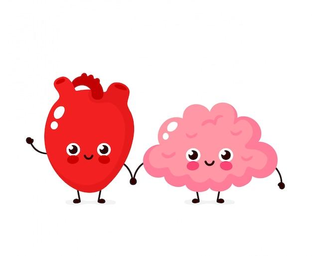 かわいい健康的な幸せな人間の脳と心臓器官のキャラクター。フラット漫画イラストアイコン。白で隔離。脳と心の友人のキャラクター